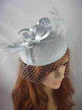 Silver Grey Felt Hat Fascinator With Satin Loop & Birdcage Veil - Wedding Races