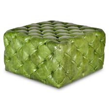 Green Tufted Genuine Leather Ottoman
