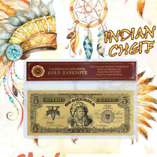 WR 1899 US $5 Gold Banknote Chief One Papa Indian Five Dollars Rare Banknote COA