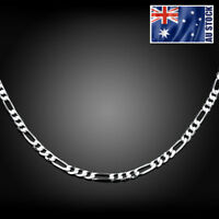 "925 Sterling Silver Filled 4MM Classic Figaro Chain Necklace Wholesale 16"" - 30"""