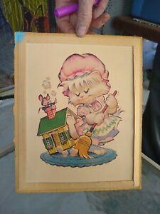 VTG 1965 Donald Art Co DAC Sweeping Mouse Kitten Cat Litho Art Print
