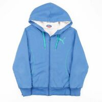 PUMA Blue & Green Embroidered Logo Fleece Lines Full Zip Hoodie Women's Size L