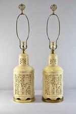 ASIAN STYLE PORCELAIN CREAM / YELLOW TABLE LAMPS BY PAUL HANSON 33""