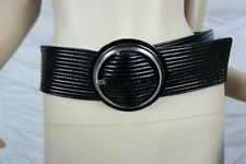 CALVIN KLEIN JEANS black 100% leather ribbed stitched wide belt size 80 NWOT