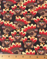 "100% Cotton Fabric TURKEY PILGRIM Thanksgiving  FQ 18"" X 22"" DIY Mask Quilting"