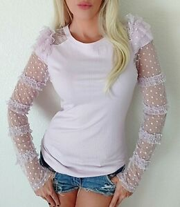 NWT Free People pink lilac Ribbed Cotton Sheer Lace Ruffle long Sleeve top M $68