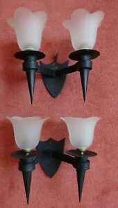 Black Wrought Iron Gothic Medieval Style Double Wall Lights Sconces Glass Shades
