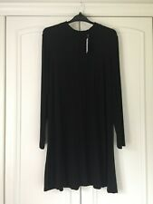 BNWT M&S ladies black long sleeved dress with ruched neck size 18