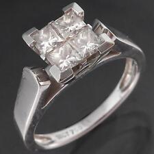 Robust & Hefty Solid 18k WHITE GOLD 4 PRINCESS CUT DIAMOND RING Val=$3400 Sz L