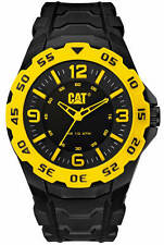 Men's CAT Caterpillar Motion Black And Yellow Rubber Strap Watch LB17121137