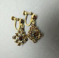 Red Garnet Czech Earrings Screw Back Prong Set Faceted Dangle Antique Gold Plate