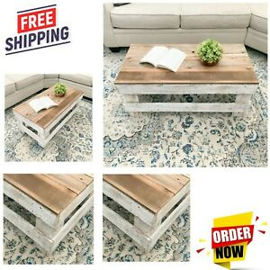 Solid Wood Coffee Table Rustic Farmhouse Reclaimed Look Living Room Furniture