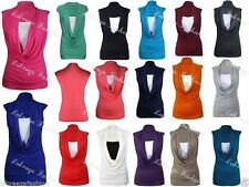 Viscose Cowl Neck Stretch Tops & Shirts for Women
