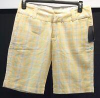 Hurley Shorts Womans Size 9 Bermuda Walking Plaid Yellow Green White NWT Cotton
