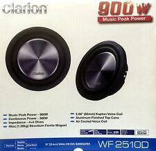 "NEW Clarion WF2510D 10"" Dual 4 ohm Shallow Mount WF Series Car Subwoofer"