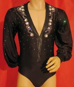 M084 hot sale Men Latin dance shirt brown crystals V neck L size new
