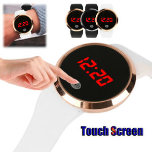 New Touch Screen Ladies Digital Led Date Silicone Mesh Waterproof Womens Watch