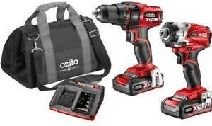 Ozito PXC 18V Drill And Impact Driver Kit with 2 Batteries, Charger & Carry Bag