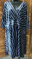 Modcloth Dress Womens Plus Size 3X Velvet Striped Zip Back 3/4 Sleeves Pockets