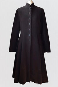 TOAST Brown Fitted Button Up High Collar Dress Coat Jacket 12 M Lagenlook Pocket
