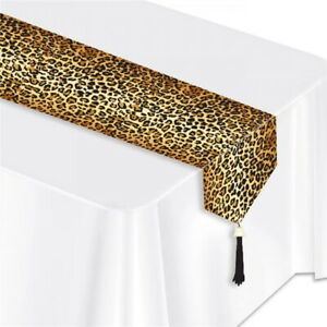 Leopard Print Table Runner Paper Birthday Party Jungle Table Decoration 6ft
