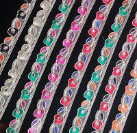Indian Embroidered Lace Colourful Trim Ribbon Sewing Craft Sari Border 1 Yard