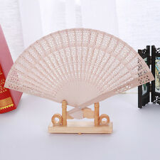 Natural Wooden Chinese Bamboo Folding Hand Fan Women Accessory Wedding Party