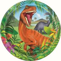 """DINOSAUR PAPER PLATES 23CM (9"""") PACK OF 8 BIRTHDAY PARTY SUPPLIES"""