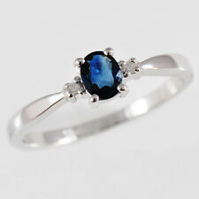 NATURAL SAPPHIRE RING. GENUINE DIAMONDS. 9K 9CT 375 WHITE GOLD. GIFT BOXED. NEW