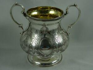 SUPERB, VICTORIAN silver SUGAR BOWL, 1859, 462gm