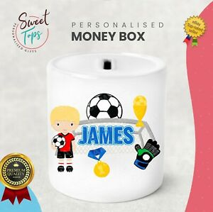 PERSONALISED FOOTBALL THEME KIDS CHILDREN MONEY BOX - GIFT PRESENT IDEA