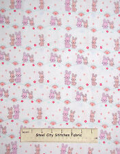 Bunny Rabbit Baby Girl Nursery Bunnies Cotton Fabric Michael Miller #CR6157 YARD