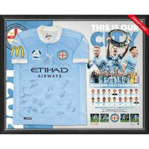Melbourne City F.C. Hyundai A-League 2021 Signed Champions Team Jersey Framed