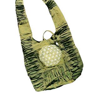 Sacred Geometry Crossbody Purse BOHO Flower of Life Bag Tie Dye Cotton Sling