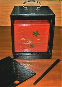 Bento Box with Case Japanese Lacquered Wood