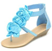 NEW Women's Flower Bow Glitter Ankle Strap Low Wedge Sandals Size 6 7.5 Blue