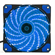 Blue 120mm Ultra Silent Computer PC Case Cooling Fan 15 LEDs 12V 9 Blades Cooler