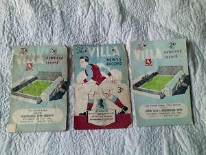 3 x Aston Villa v Huddersfield Town & Reserves Programmes 1949 1950