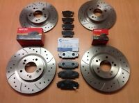 Honda S2000 2.0 05/99- Front Rear Drilled Grooved Brake Discs & Mintex Pads