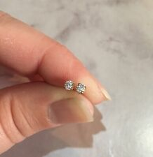 CERTIFIED! Scintillating Quality D color Moissanite 3mm yellow gold earrings  💫