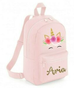 Personalised Backpack School bag,Unicorn Flowers Name,Choice of Size +Colour,106