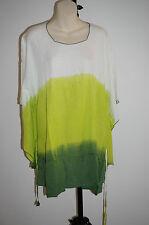Kaftan Rainbow Hippie Top Rayon Free size casual beach boho tie dye XXL green