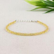 Natural Yellow Sapphire Bead Bracelet 925 Sterling Sliver Jewelry Healing Women
