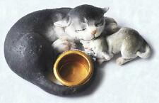 Scruff & Puss Figurine #4261 Gray Cat and Kitten with bowl