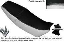 WHITE SIDES & BLACK CUSTOM FITS HONDA MBX 125 DUAL LEATHER SEAT COVER ONLY