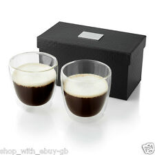 GLASS DOUBLE WALLED ESPRESSO COFFEE SET - 2 CUP KITCHEN GIFT / CUPS IN GIFT BOX