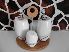 Bambus Menageset Porzellan Essig Öl Gewürzständer Küchenhelfer Gewürzmenage Neu