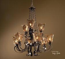 Tuscan Oil Rubbed Bronze Amber Glass Vetraio 9 Light 2 Tier Chandelier Fixture