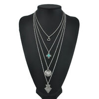 Tibetan Silver Turquoise Chain Crystal Pendant Necklace Fashion Women's Jewelry