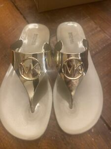 New - Women's Michael Kors Lillie Gold  PVC Jelly Thong Sandals Size 8